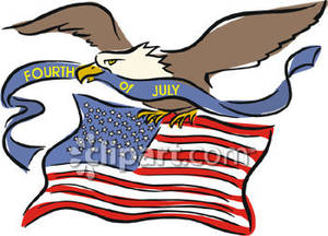 Bald Eagle Carrying A Fourth Of July Banner And An American Flag
