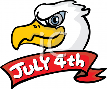 Bald Eagle With A July 4th Banner   Royalty Free Clipart Image