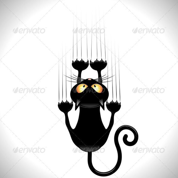 Black Cat Cartoon Scratching Wall   Animals Characters