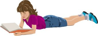 Clip Art Of A Girl Lying Down Reading A Book