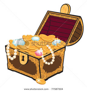 Decorated Treasure Chest With Gold And Jewels Clip Art Image