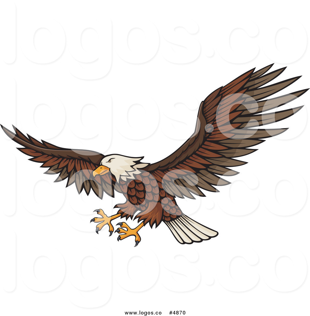 Royalty Free Vector Of A Flying Bald Eagle With Extended Feet Logo By