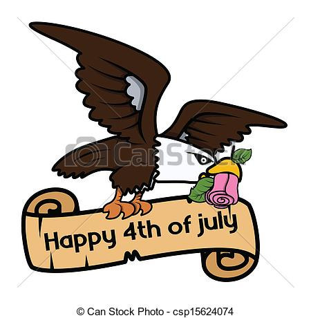 Vectors Illustration Of Happy 4th Of July Bald Eagle Banner   Drawing
