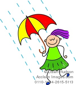 Clipart Image Of A Happy Little Girl Holding An Umbrella In The Rain