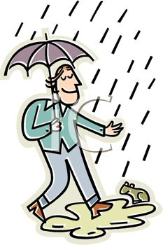 Happy Guy Walking In The Rain   Royalty Free Clipart Image