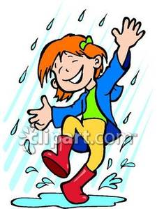 Happy Little Girl In The Rain   Royalty Free Clipart Picture