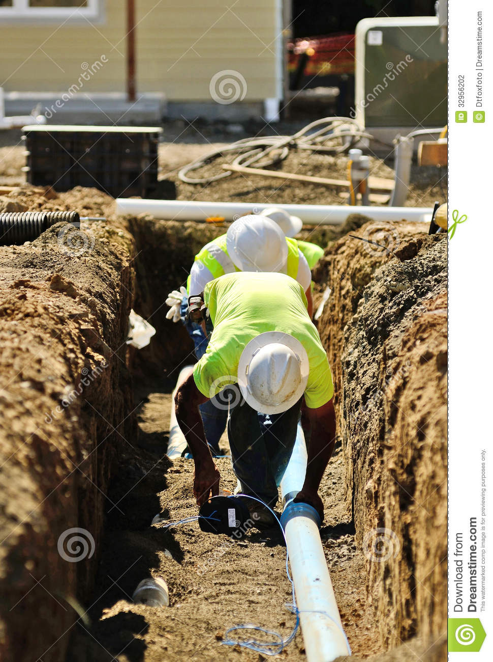 Infrastructure Excavation Building Contractors Installing Water Lines