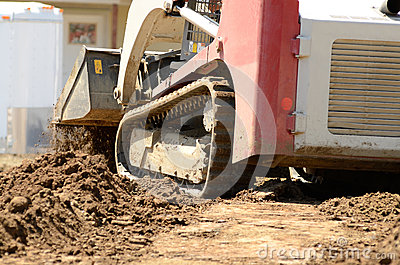 Infrastructure Excavation Building Contractors Smoothing Dirt Over
