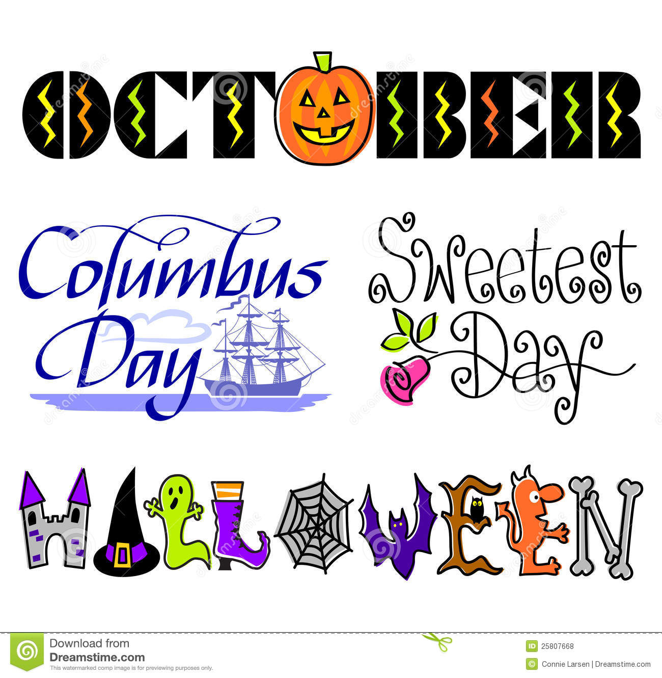 October Events Clip Art Set Eps Royalty Free Stock Photos   Image