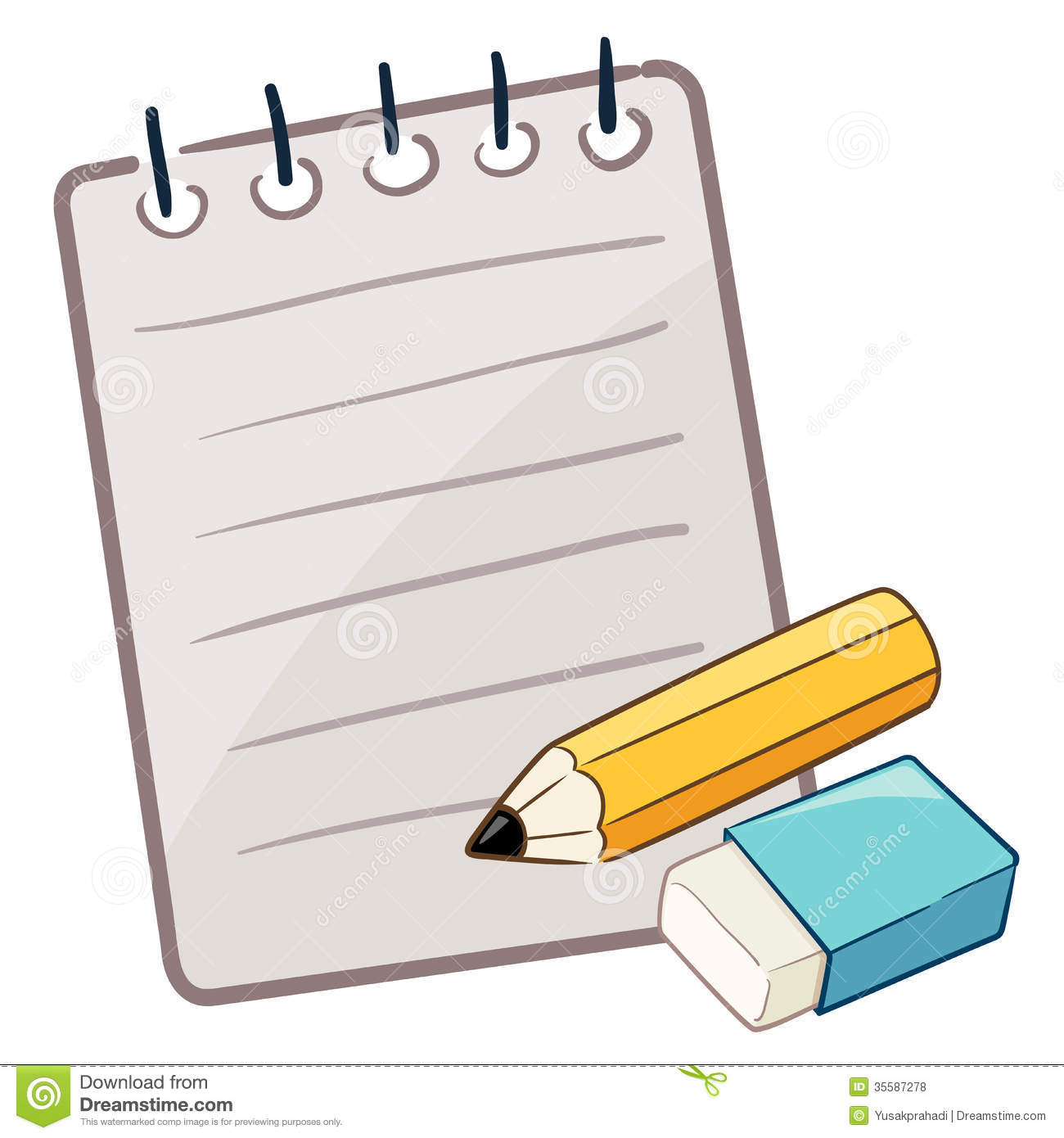 Paper With Pencil And Eraser Royalty Free Stock Photos