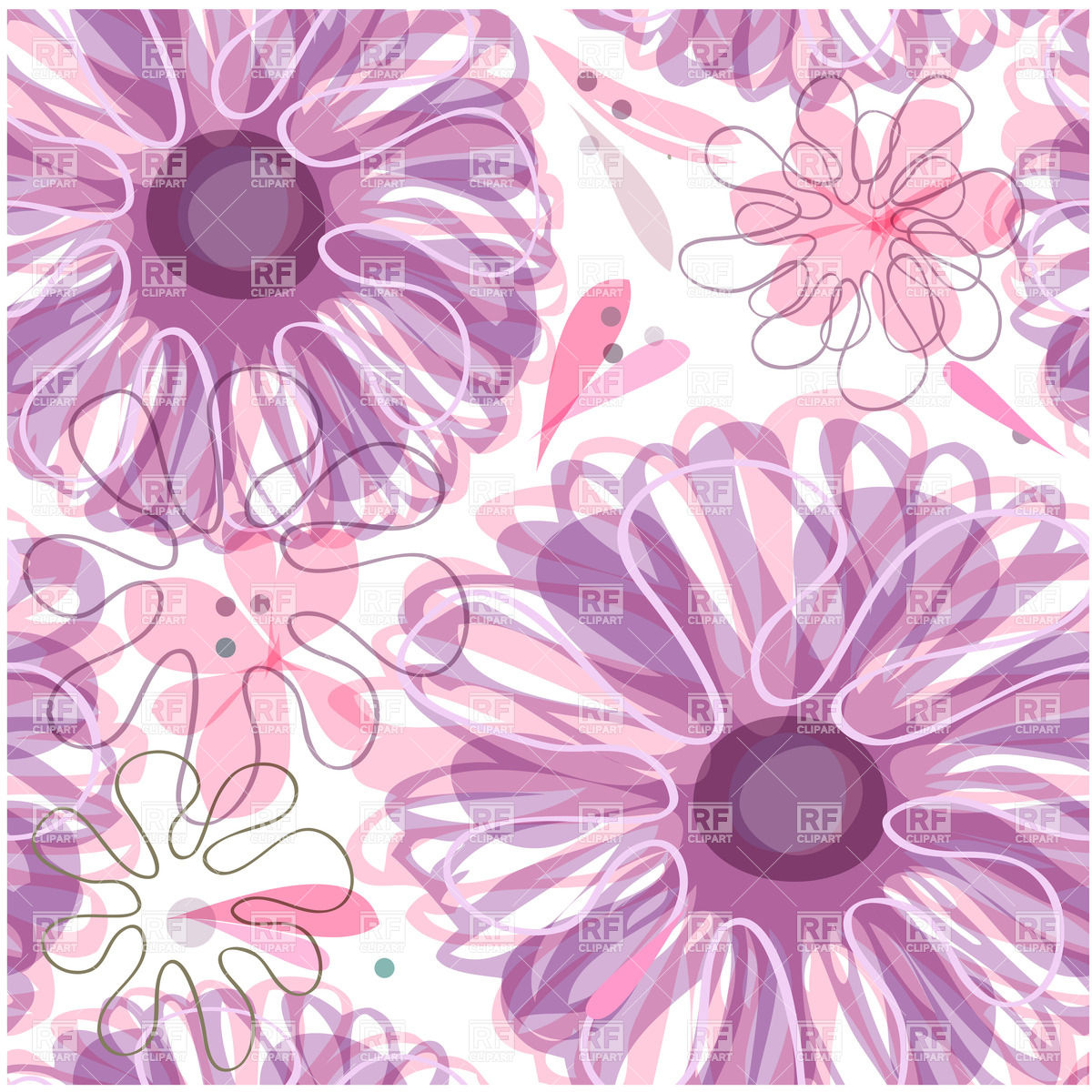 Seamless Purple Floral Background With Stylized Flowers 22968