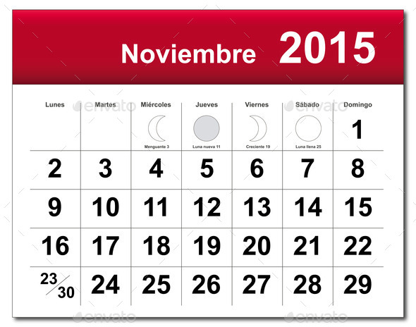 Spanish Version Of November 2015 Calendar   Stock Photo   Photodune