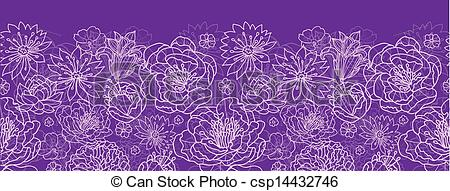 Vector Of Purple Lace Flowers Horizontal Seamless Pattern Background