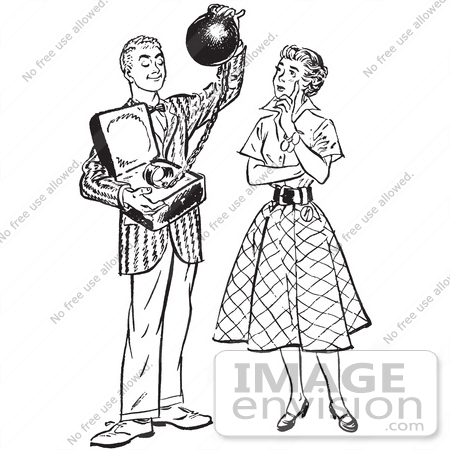 61493 Retro Clipart Of A Vintage Teenage Boy Offering His Girlfriend