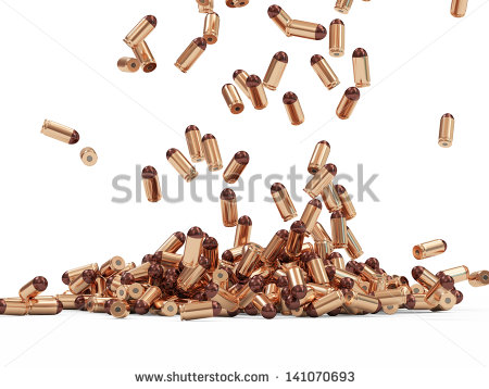 Falling Gun Bullets On White Background   Stock Photo