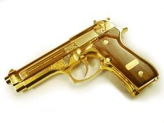 Golden Beretta 92fs M9  9mm Semi Automatic Double Action Pistol