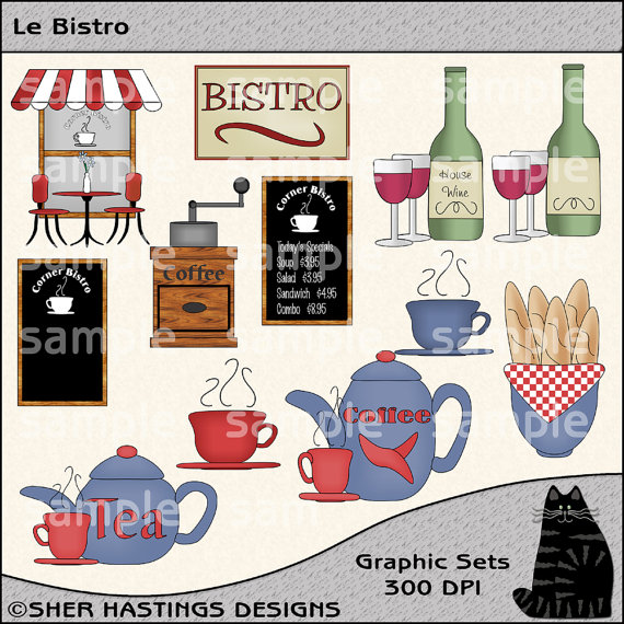 Le Bistro Clipart And Graphic Set Restaurant Clipart Wine Clipart