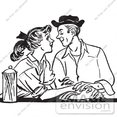 Retro Clipart Of A Vintage Teenage Couple Swooning At A Diner In Black