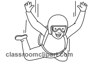 Sports   Skydiving Clipart Outline 01   Classroom Clipart