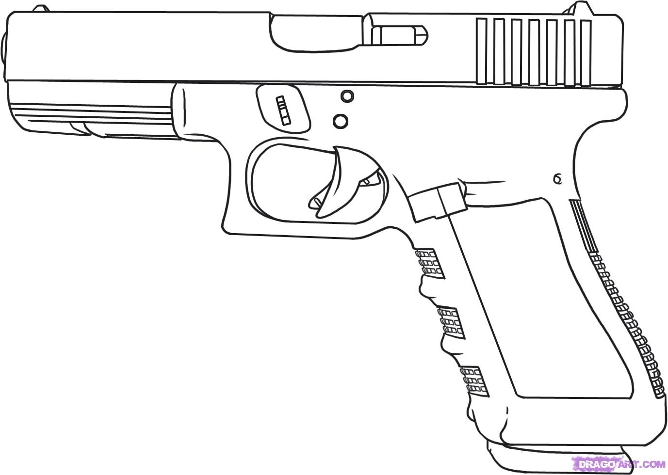 how to draw a gun bullet