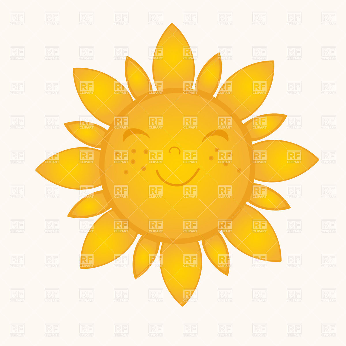 Sun With Smiling Face 22920 Download Royalty Free Vector Clipart