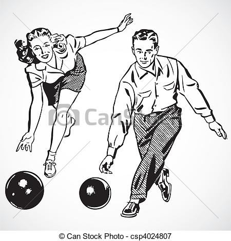 Vector   Vector Vintage Bowling Couple   Stock Illustration Royalty