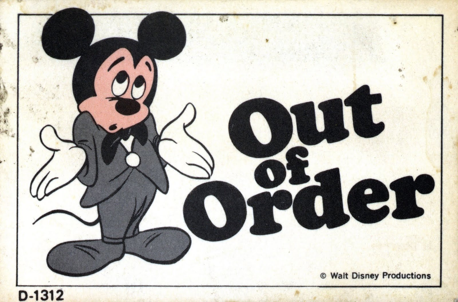 Vintage Disneyland Tickets  Out Of Order