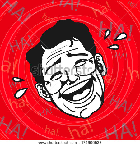 Vintage Retro Clipart   Lol Man Laughing Out Loud   Stock Vector