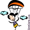 Woman Skydiving Vector Clipart Picture