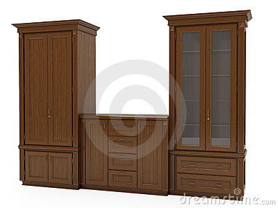 3d Illustration Of Classic Wooden Furniture On White Background