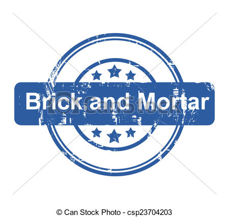 Brick And Mortar Business Concept Stamp With Stars Isolated On A White