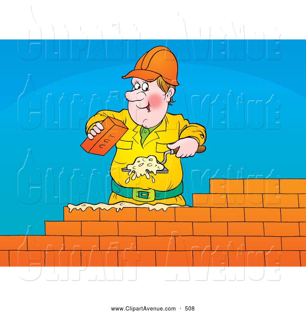 Brick Layer Using A Trowel To Spread Mortar While Laying A Brick Wall
