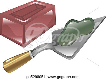 Brick Mortar And Trowel Shiny Icon Illustration   Stock Clipart