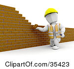Clipart Illustration Of A White Character Putting Up A Brick Wall With