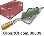 Clipart Illustration Of Green Mortar On A Trowel Beside Brick