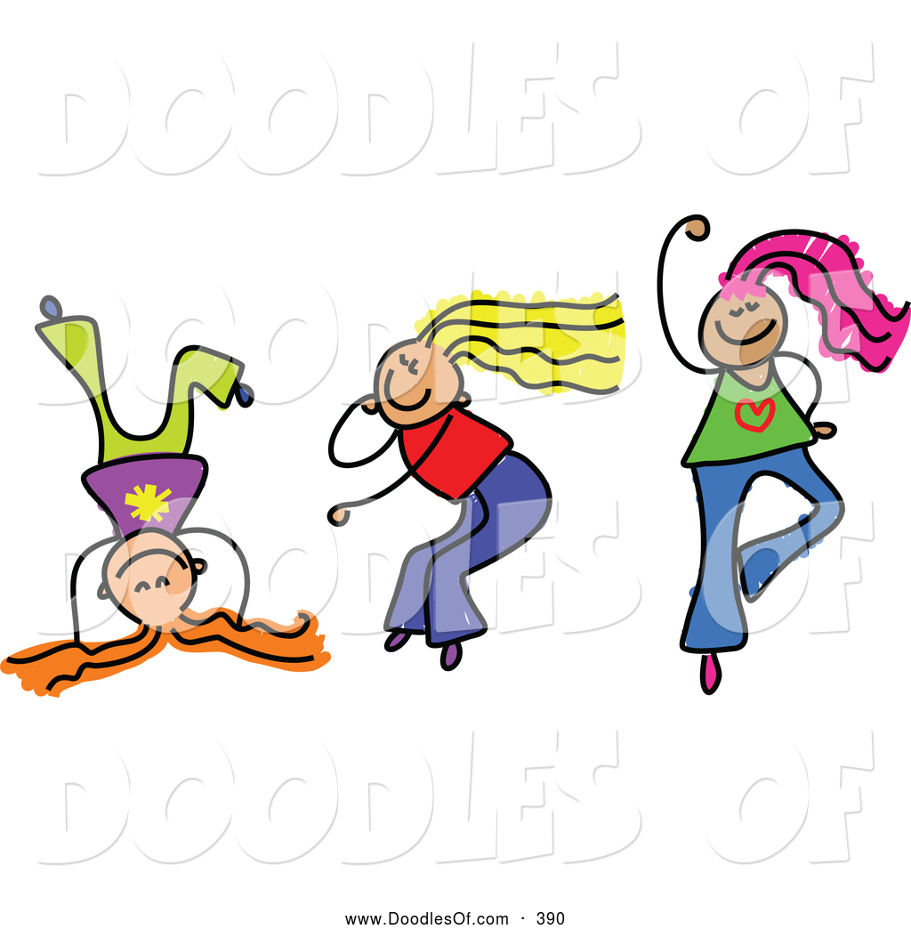 Clipart Of A Childs Sketch Of Three Smiling Girls Playing Together