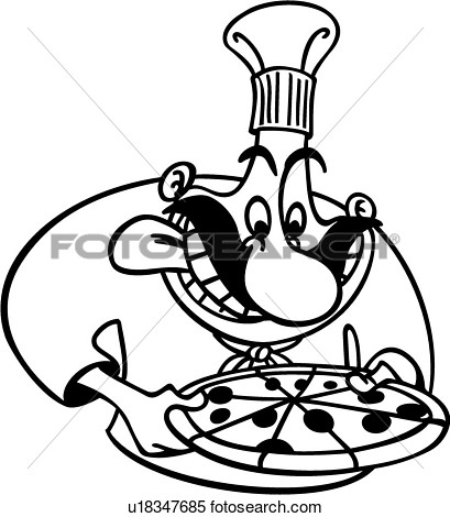 Clipart Of  Chef Cook Cooking Italian Kitchen Pizza Restaurant