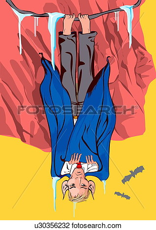 Clipart   Vampire Hanging Upside Down Like A Bat  Fotosearch   Search