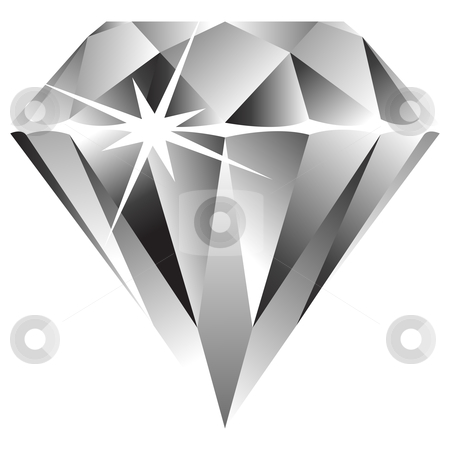 Diamond Against White Stock Vector Clipart Diamond Against White