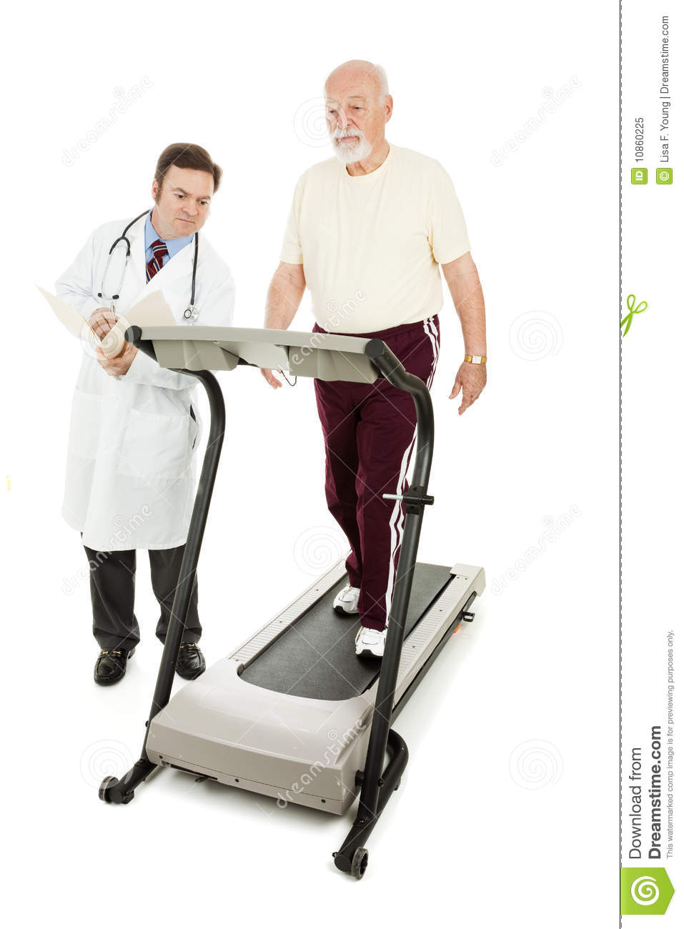 Doctor Monitors Senior On Treadmill Royalty Free Stock Photo   Image