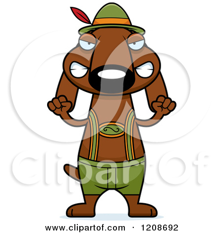 Dog Wearing Lederhosen   Royalty Free Vector Clipart By Cory Thoman