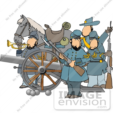 Four Civil War Soldiers With A Canon And Horse Clipart    14425 By