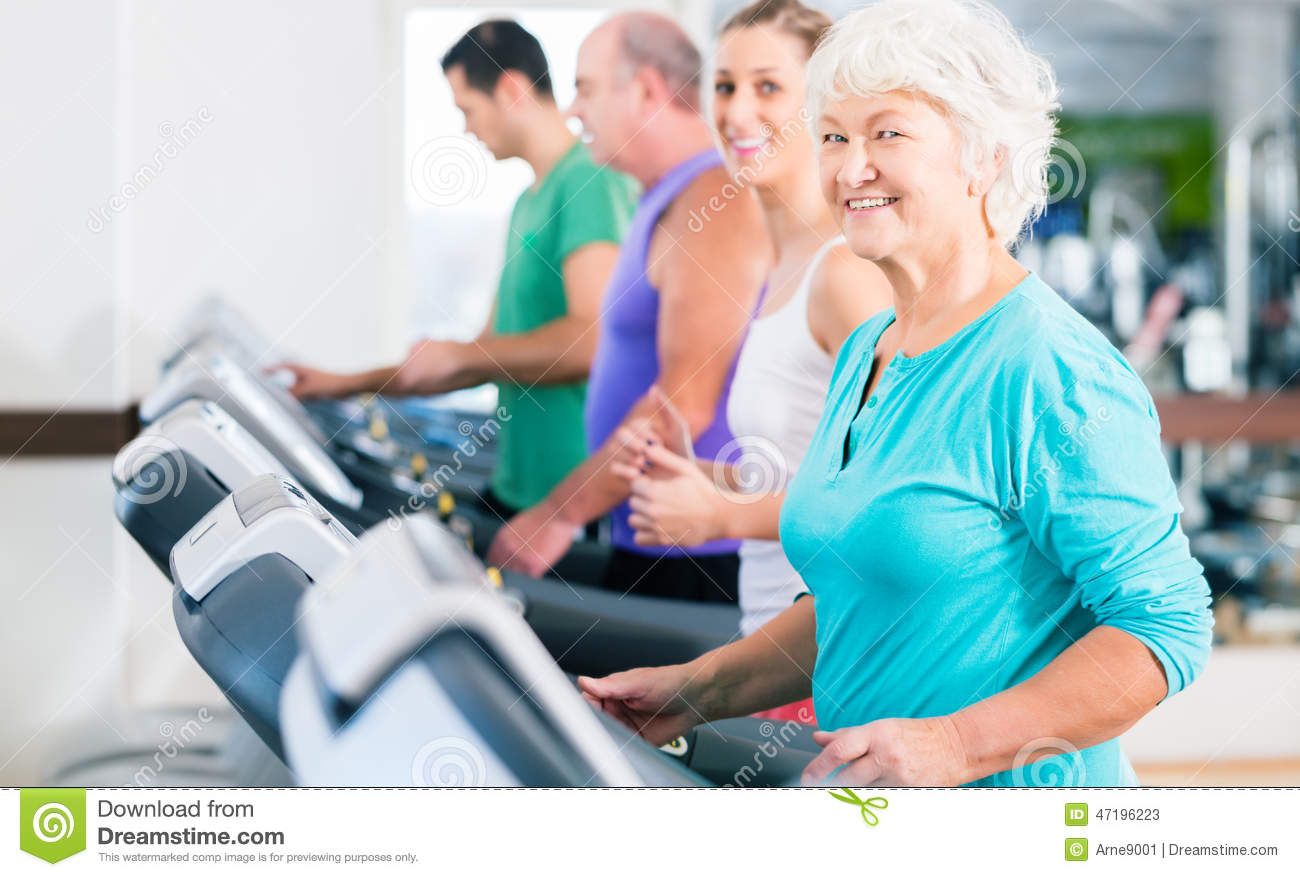 Group With Senior People On Treadmill In Gym Stock Photo   Image