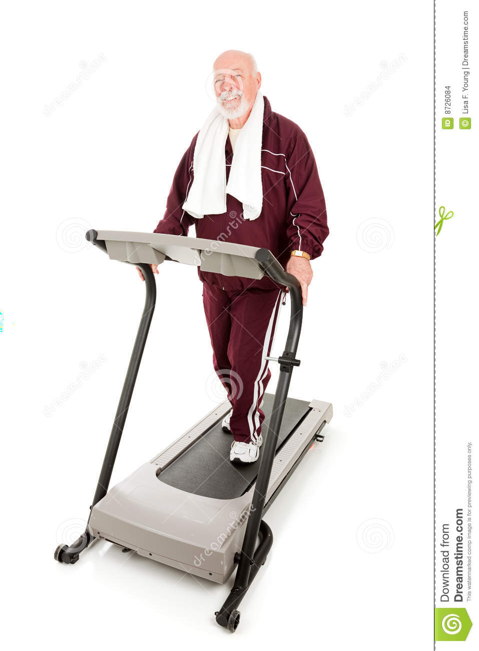 Handsome Fit Senior Man Exercising On A Treadmill  Full Body Isolated