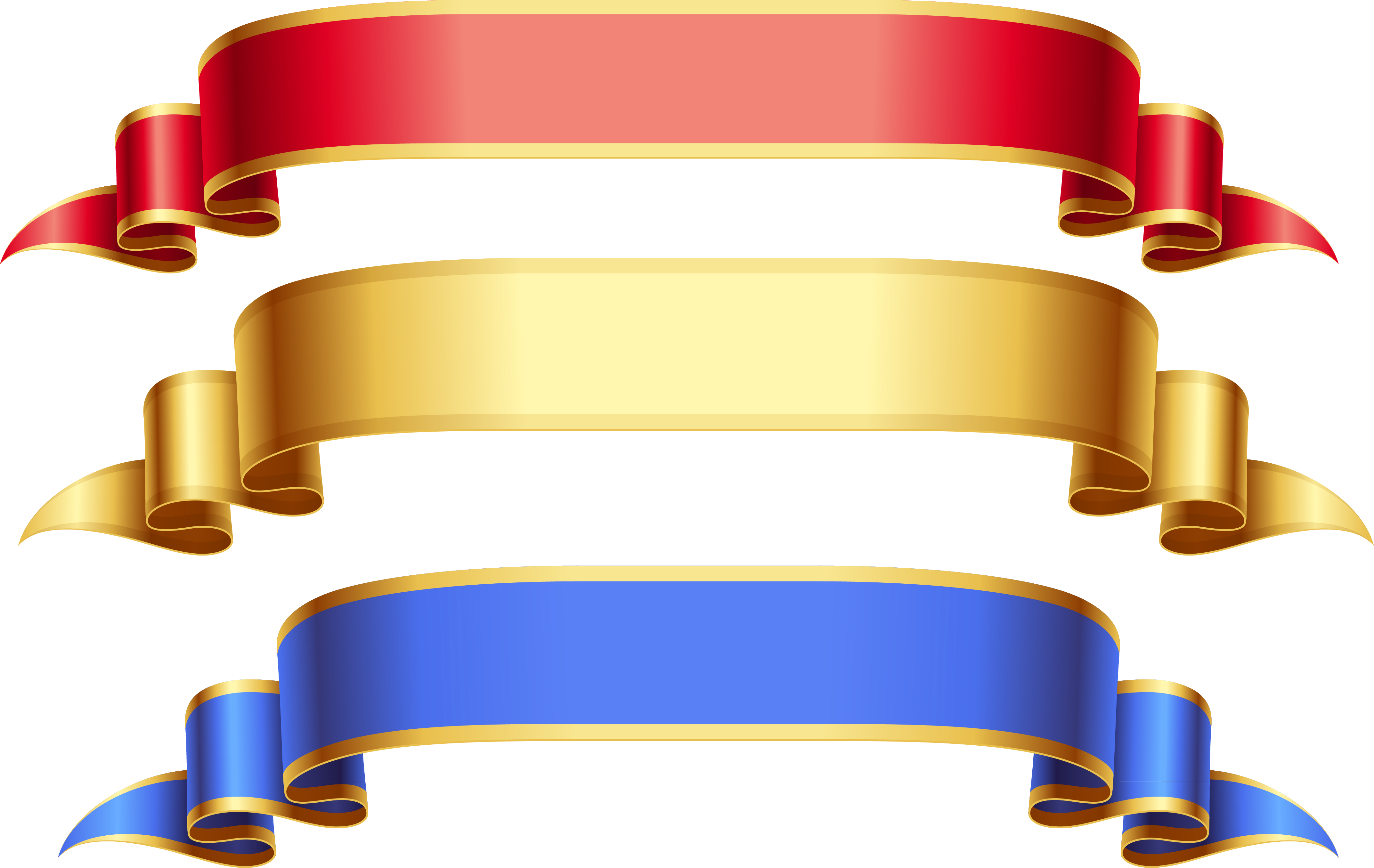 Large Transparent Red Gold Blue Banners Png Picture