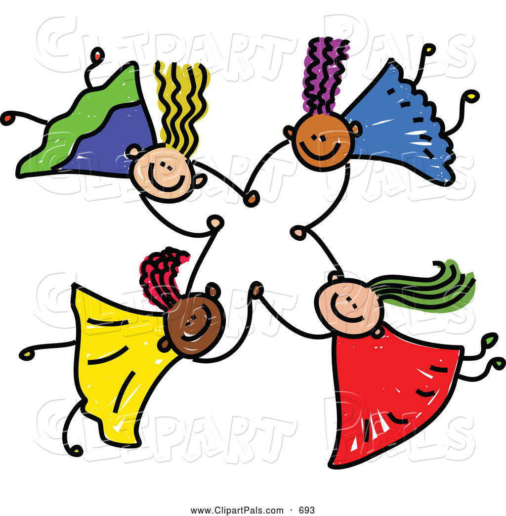 Pal Clipart Of A Childs Sketch Of Four Kids Holding Hands While