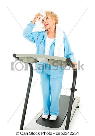 Photo Of Senior Workout   Hot And Tired   Senior Lady On A Treadmill