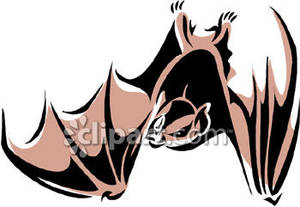 Scary Bat Upside Down Royalty Free Clipart Picture