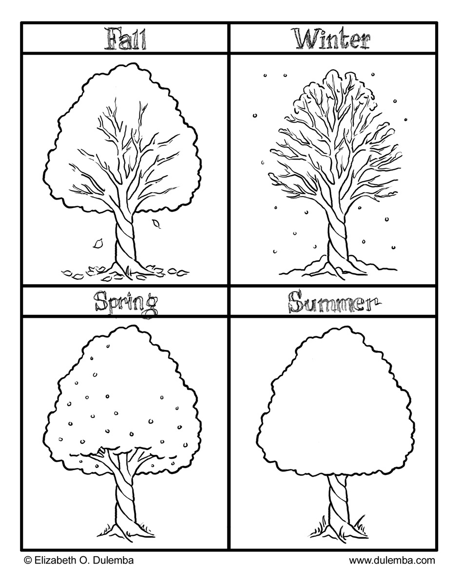 seasonal coloring pages 4 seasons black and white clipart clipart suggest