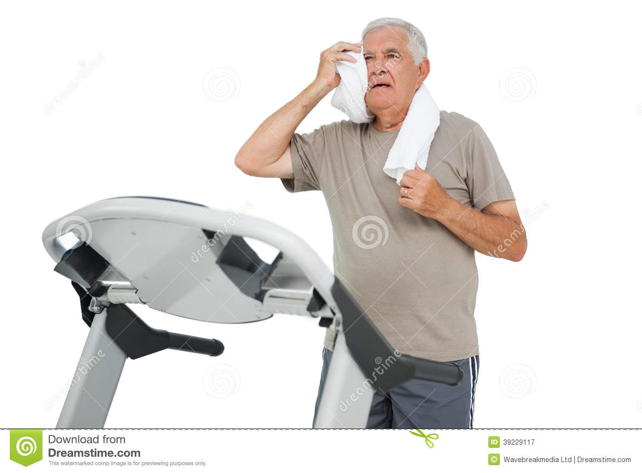 Tired Senior Man Running On A Treadmill Stock Photo   Image  39229117